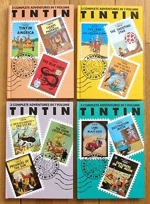 Lot 4 THE ADVENTURES OF TINTIN 3 Complete in 1 Vols 1 3 4 5 Herge NEW L1