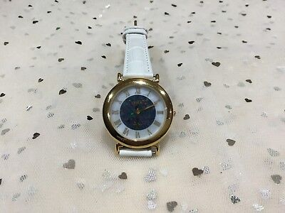 Ladies Opal and mother of pearl Face Watch, With Summer White Leather Band.New