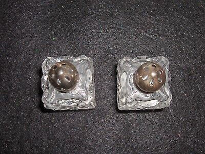 Vintage Small Cut Glass Salt and Pepper Shaker W/Silver Metal Caps - Japan