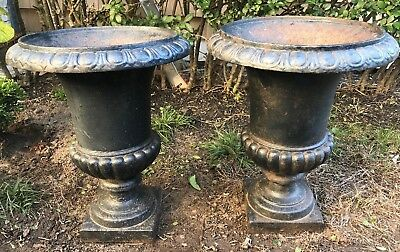 Antique French Cast Pair of Cast Iron Planters Urns Urn Garden Patio NICE!