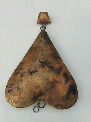 Antique Copper Ceremonial Heart With a Bell attached to it.