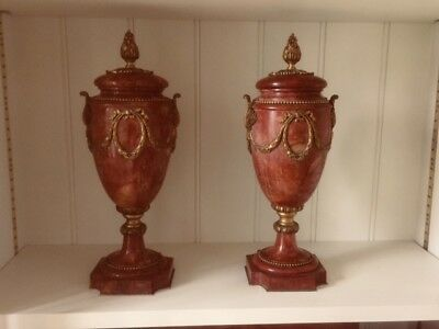 Pair of 18th century French marble and ormolu antique urns or cassolettes