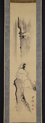"""JAPANESE HANGING SCROLL ART Painting """"Kannon on Cliff"""" Asian antique  #E4833"""