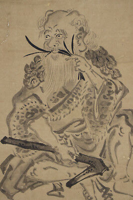 "JAPANESE HANGING SCROLL ART Painting ""Shennong"" Asian antique  #E4846"