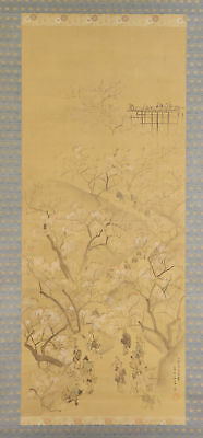 """JAPANESE HANGING SCROLL ART Painting """"Hanami, Cherry blossom viewing""""  #E4836"""