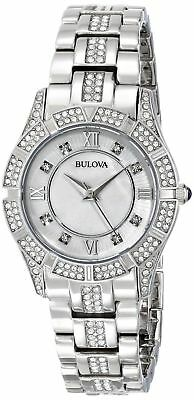 NEW Bulova 96L116 Mother of Pearl Dial Crystal Accent Stainless Women's Watch