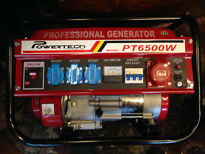 Heavy Duty Portable Petrol Generator PT 6500W 3 phase and 240v