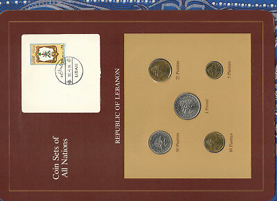 Coin Sets of All Nations Lebanon UNC 1975-1981 50 Piastre 1980 1 Livre 81