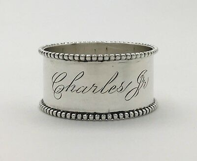 "A Beautiful Shreve & Co San Francisco Sterling Silver Napkin Ring ""Charles Jr"""