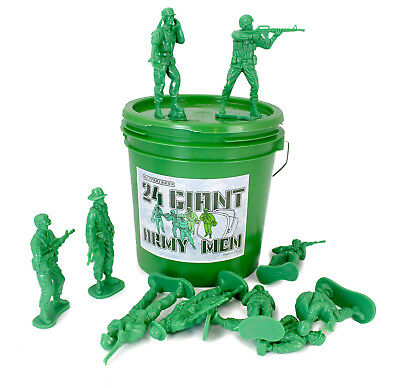 Large Green Bucket 24 Giant Army Men Tall Action Figures Toy Soldier