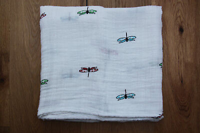 "aden anais Swaddle Blanket ~ White with Green, Red & Blue Dragonflies ~47"" x 47"""
