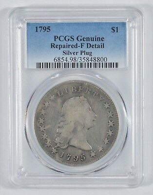 1795 Flowing Hair Silver Dollar Repaired-F Silver Plug Circulated - PCGS *8020