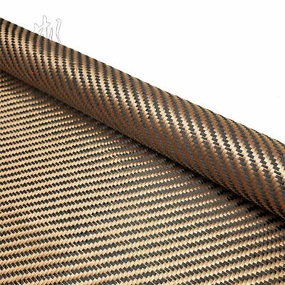 Champagne gold + Black Aramid Carbon Fiber Blended Fabric Fixed cloth 200/240gsm