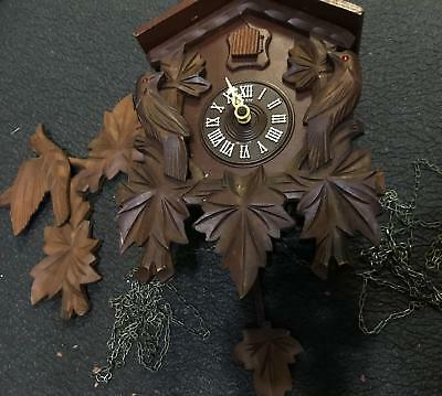 Vtg Germany Carved Black Forest Wood Classic Cuckoo Clock Parts Or Repair