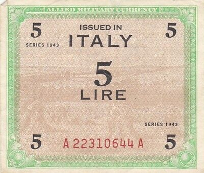 1943 Italy 5 Lire Allied Millitary Currency Note, Pick M12b.