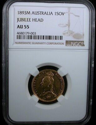 1893M Australia 1Sov Jubilee Head Ngc Au55 Australia 1 Sovereign Gold Proof-Like