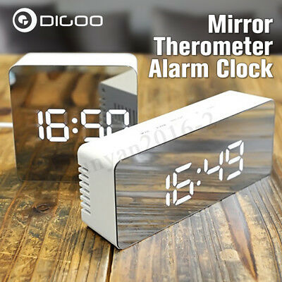 DIGOO Mirror LED Digital Snooze Alarm Clock Time Temperature Night Mode Light Re
