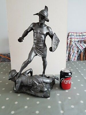 Unusual Old Cast Metal Gladiator Figure Group