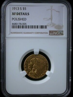 1913-S $5 Indian Ngc Xf Details 1913 S Five Dollars Gold Coin Half Eagle