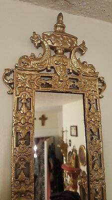 Hollywood Regency Vintage Gold Ornate Mirrored Sconce Iconic Dolphin Serpent