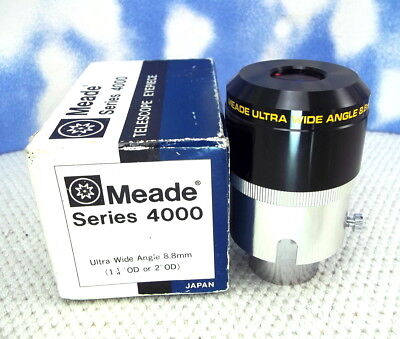 """MEADE Series 4000 ULTRA WIDE ANGLE 8.8mm MULTI-COATED Eyepiece 1 1/4 & 2"""" Mt. f9"""
