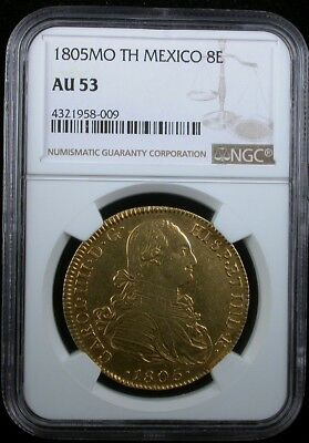 1805Mo Th Mexico Ngc Au 53 1805 Mo Mexico Spanish Colony 8 Escudos Gold Coin