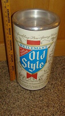 Large Vintage Heileman's Old Style Beer Can Tin Metal Trash Can w/Ashtray Top