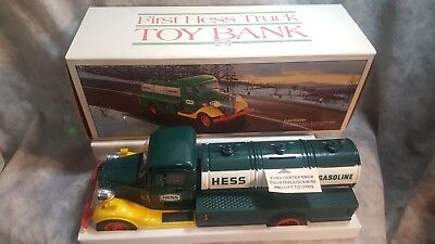 Vintage 1985 First Hess Truck Toy Bank  NEW condition  red switch