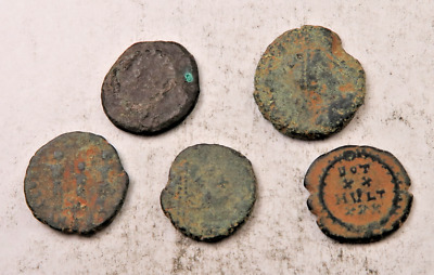 (5) Ancient Roman Coin Lot // Uncleaned W/ Details // 5 Coins (ACT42)