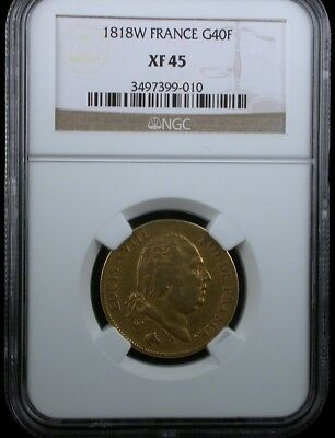 1818W France G40F Ngc Xf 45 1818 W France 40 Francs Gold Coin