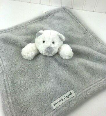 Blankets and Beyond Security Lovey Fleece White Gray Bear Baby Blanket