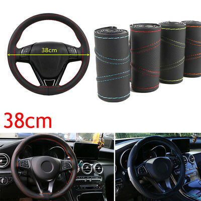 1Pc Universal 38cm Leather DIY Car Steering Wheel Cover Auto Protection Needle