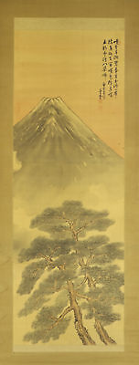 """JAPANESE HANGING SCROLL ART Painting Scenery """"Mt. Fuji"""" Asian antique  #E4718"""