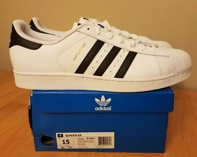 ADIDAS ORIGINALS SUPERSTAR SHOES  [C77124]  (WHITE/BLACK) US men's size 15 -NEW