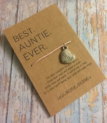 Best Auntie Aunt Gift Idea Wish String Bracelet Stocking Filler