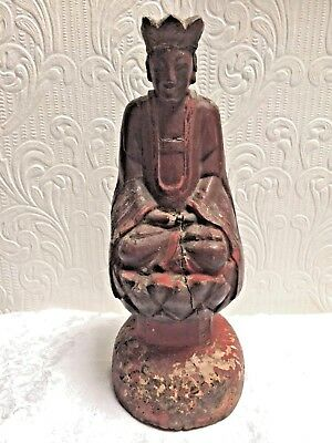 RARE Antique Chinese Cinnabar Color 1700's Hand Carved Wood Buddha
