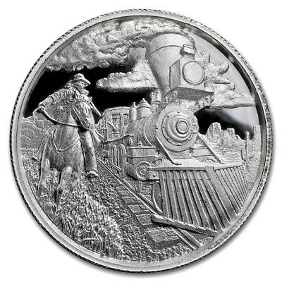 2 oz High Relief Silver Round - Lawless Series Train Robber