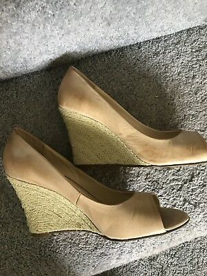 Tony Bianco Natural Colour Leather Open Toe Wedge Size 7.5