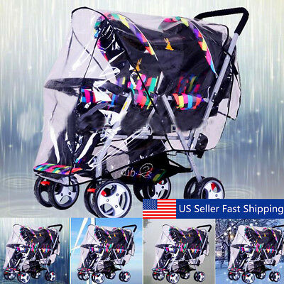 Clear Chic Stroller Rain Cover Pram Baby Infant Double Pushchair Wind Shield NEW