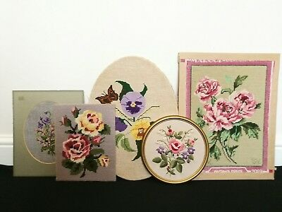 Collection of 5 x vintage embroidery samplers