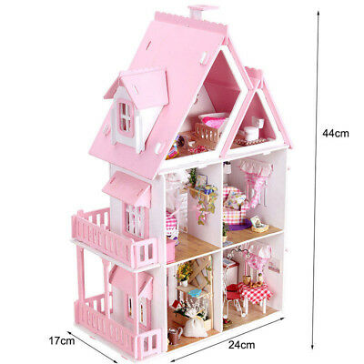 KIDS Wooden Doll House 3 Level Large Toy Pretend Play Full Furniture Pink