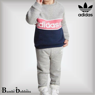 Adidas Originals Girls Age 2-3-4 Years Grey Crew Suit Tracksuit Outfit Euro 98