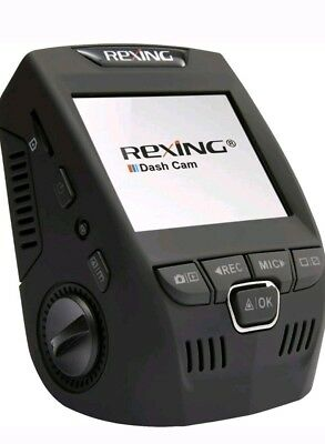 """Dash Camera Rexing V1P 2.4"""" LCD FHD 1080p 170 Degree Wide Angle Dual Channel"""