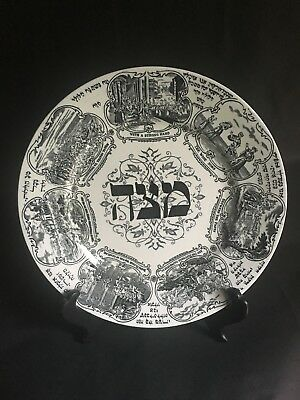 Rare Bardiger Tepper London Black & White Porcelain Passover Seder Plate C.1920