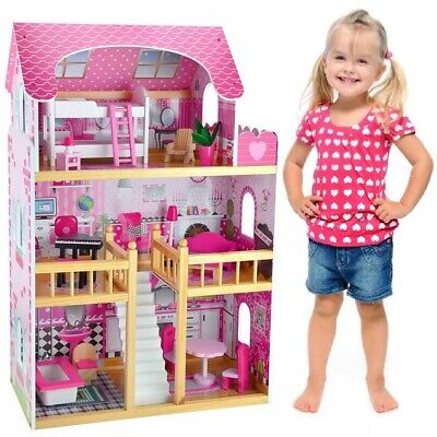 90CM 3 Storey Large Wooden Doll House Dollhouse Kids Girl Furniture Pink 16pc