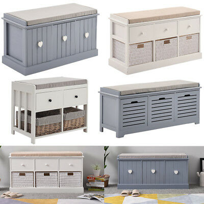 Modern Wooden Storage Units Wicker Basket Drawers Bedroom Hallway Bench Seat UK
