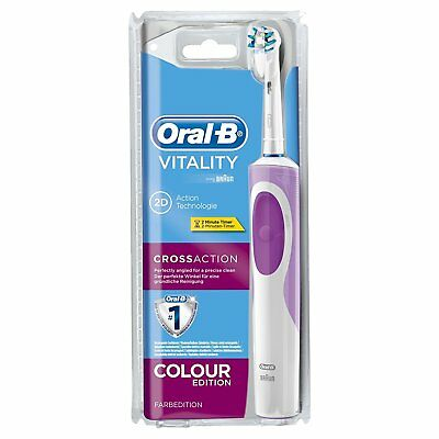 Braun Oral-B Vitality Cross Action 2D Electric Rechargeable Purple Toothbrush
