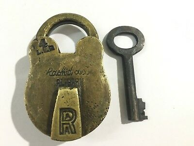 (01) Old antique solid brass padlock or lock with key small miniature RARE SHAPE