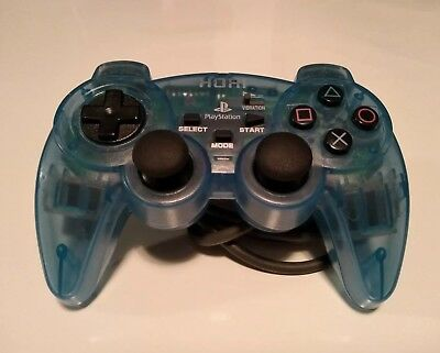 Clear Light Blue HORI Sony Playstation PS1 Controller - Analog Pad Made In Japan