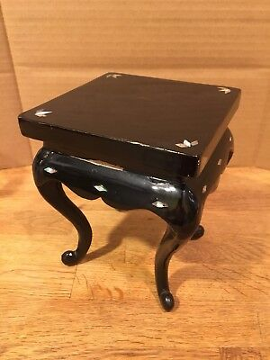 "Korea Vintage Black Lacquered Wood Mother Of Pearl 6"" Display Small Table Decor"